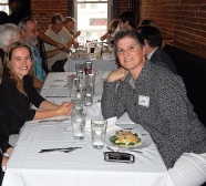 Keynote presenter Julia Zalenski (l) and Assistant Director, Student Services, Jan Warren (r) savor the evening.