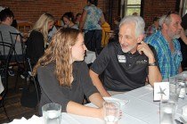 Keynote presenter Julia Zalenski, J.D. (l) speaks with Honors Program Director, Dr. Art Spisak (r).